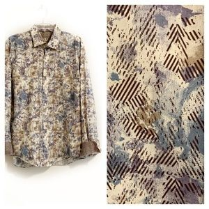 Bugatchi UOMO Shaped Fit Abstract Floral Shirt